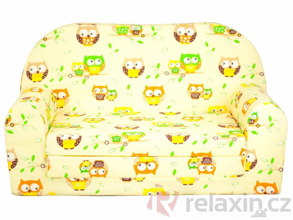 0acffb563e90 Dětská rozkládací mini pohovka Sovičky žlutá