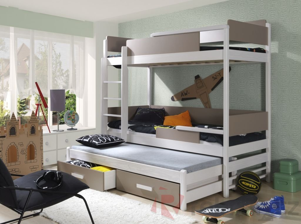 d528dcb37c49 Patrová postel Quatro - trojlůžko 80x200 cm (Š 87 cm