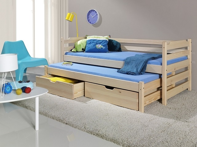 MebloBed Rozkládací postel Martin s úložným prostorem 90x200 cm (Š 97 cm, D 208 cm, V 77 cm), Přírodní borovice, Přírodní borovice, 1 ks matrace do přistýlky 0deacb04dce0b9efb37ba873003554c2