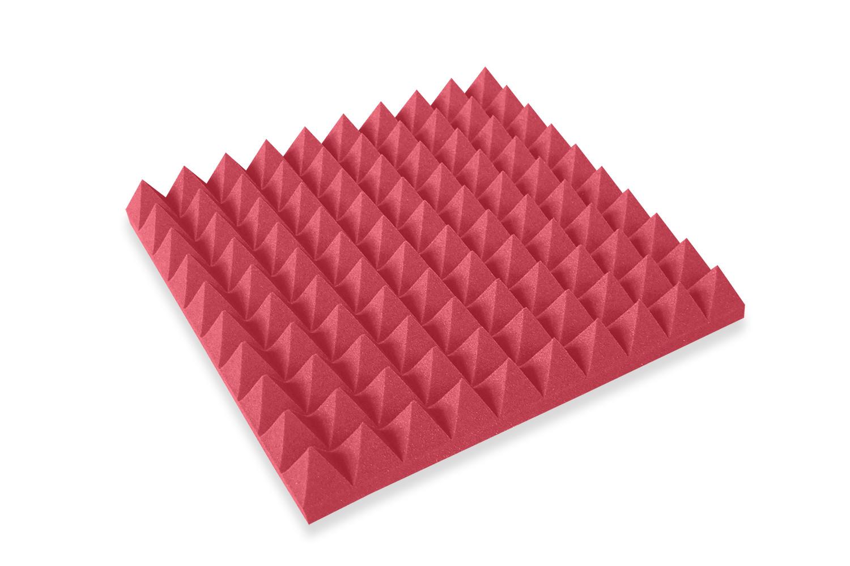 Mega-acoustic Akustická pěna jehlan červený 50x50x7 cm