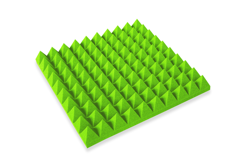 Mega-acoustic Akustická pěna jehlan zelený 50x50x5 cm