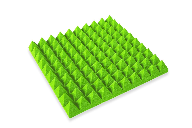 Mega-acoustic Akustická pěna jehlan zelený 50x50x7 cm