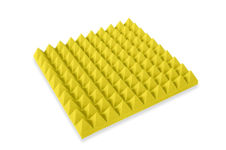 Mega-acoustic Akustická pěna jehlan žlutý 50x50x7 cm
