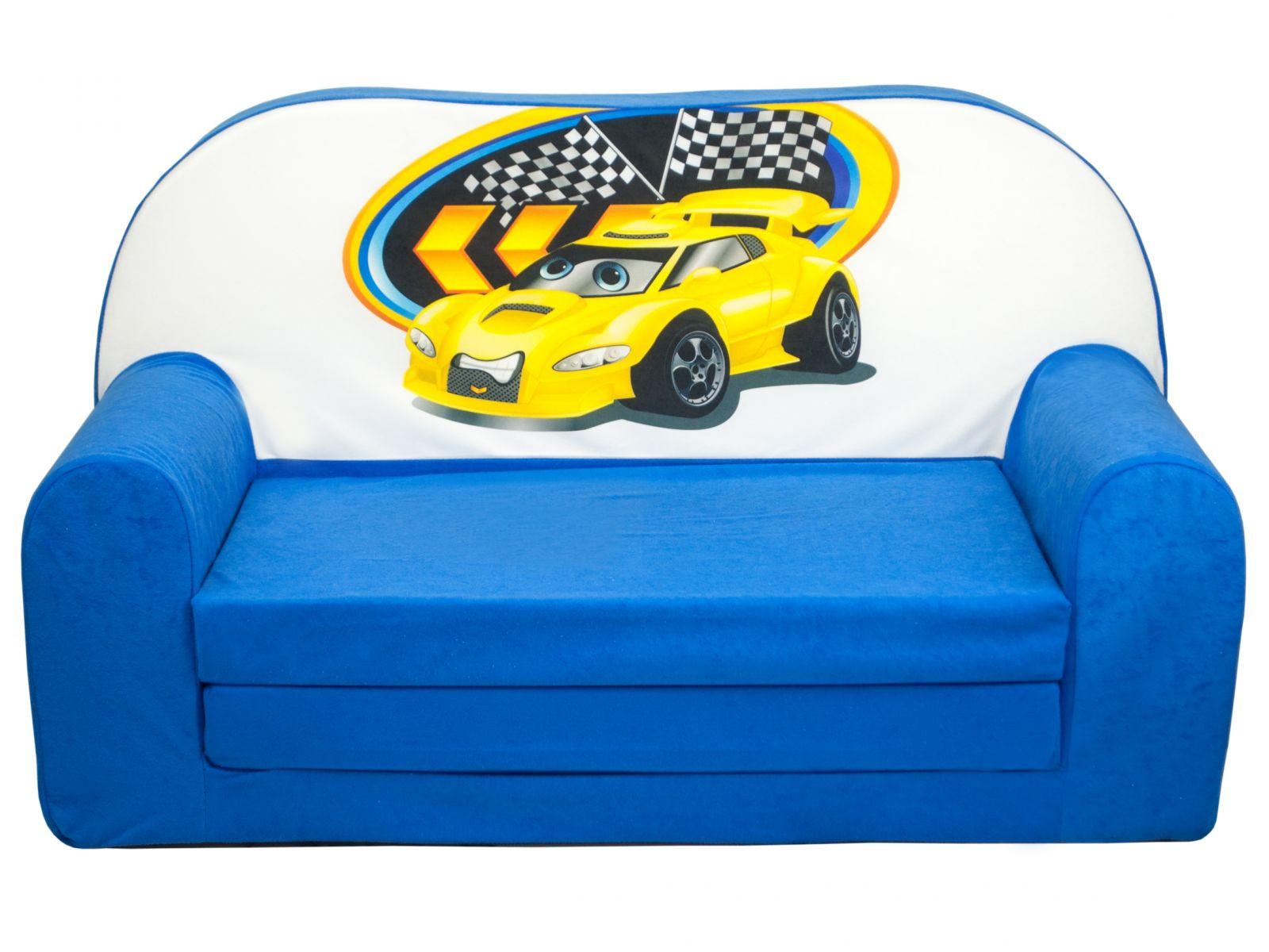 Fimex Dětská rozkládací mini pohovka Auto modrá