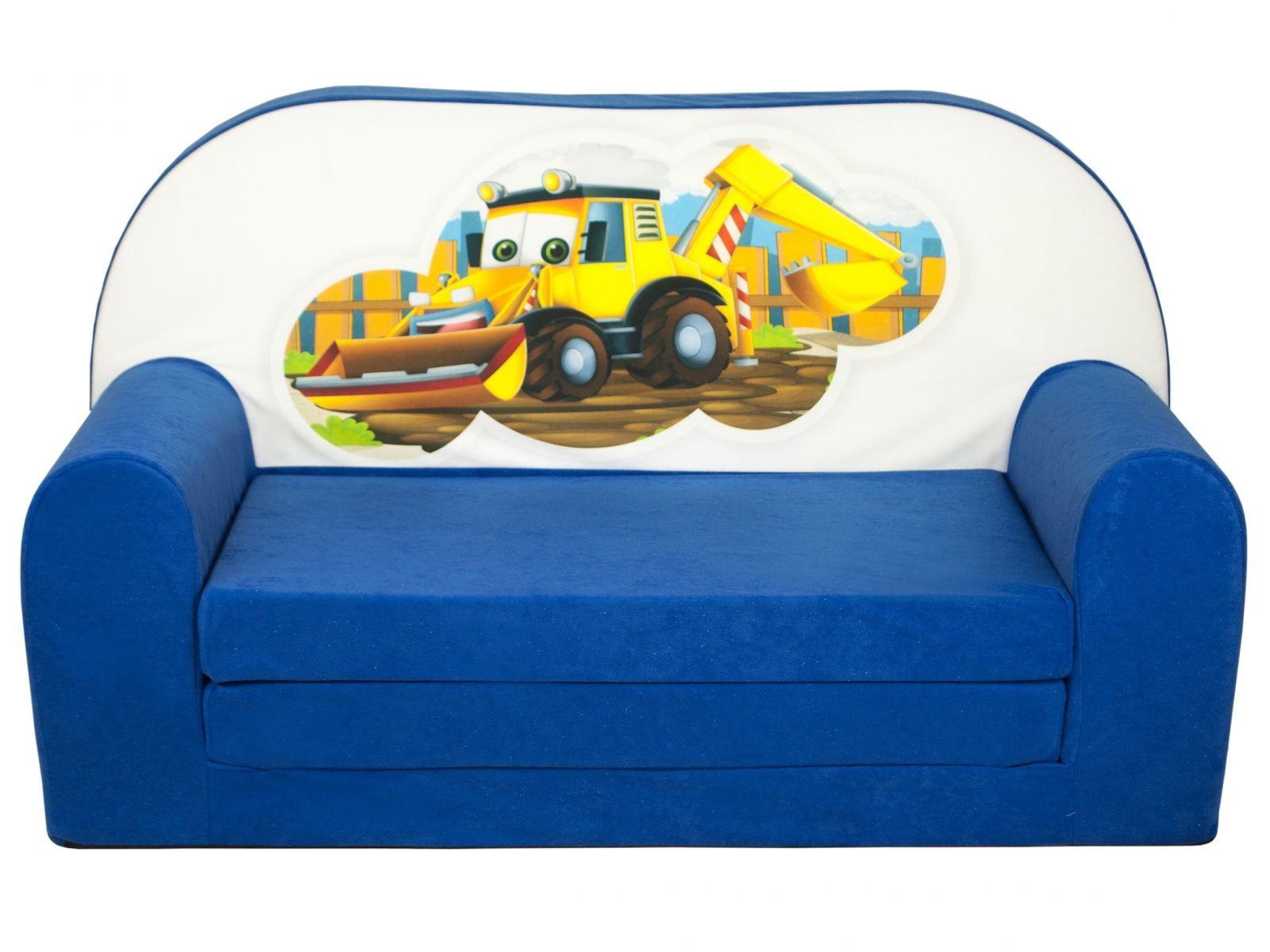 Fimex Dětská rozkládací mini pohovka Bagr modrá