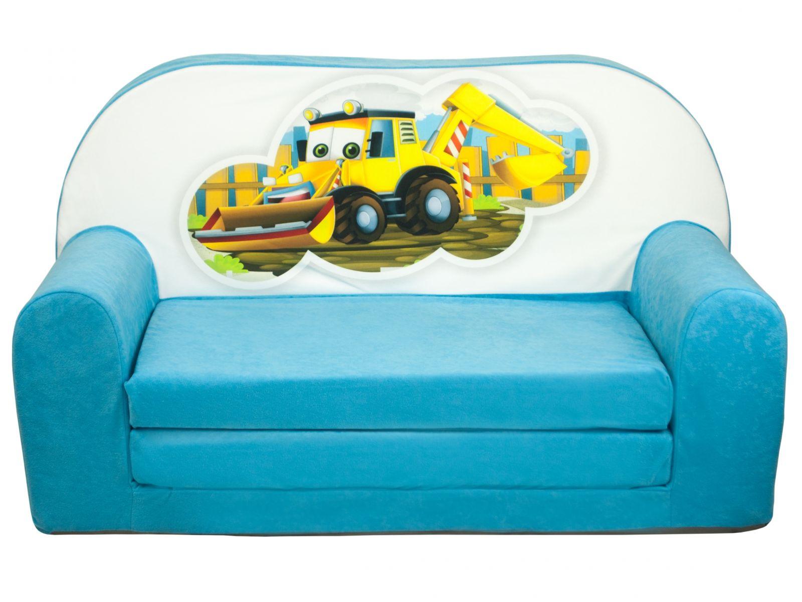 Fimex Dětská rozkládací mini pohovka Bagr světle modrá