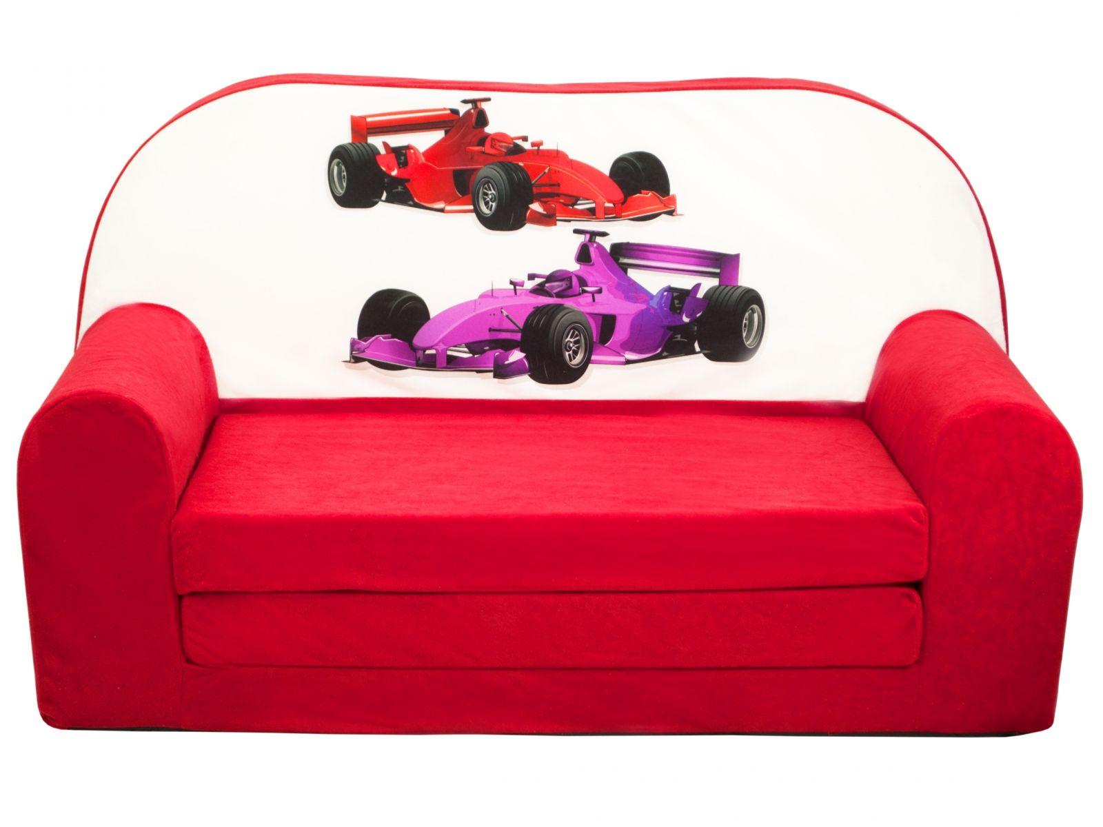 Fimex Dětská rozkládací mini pohovka Formule červená