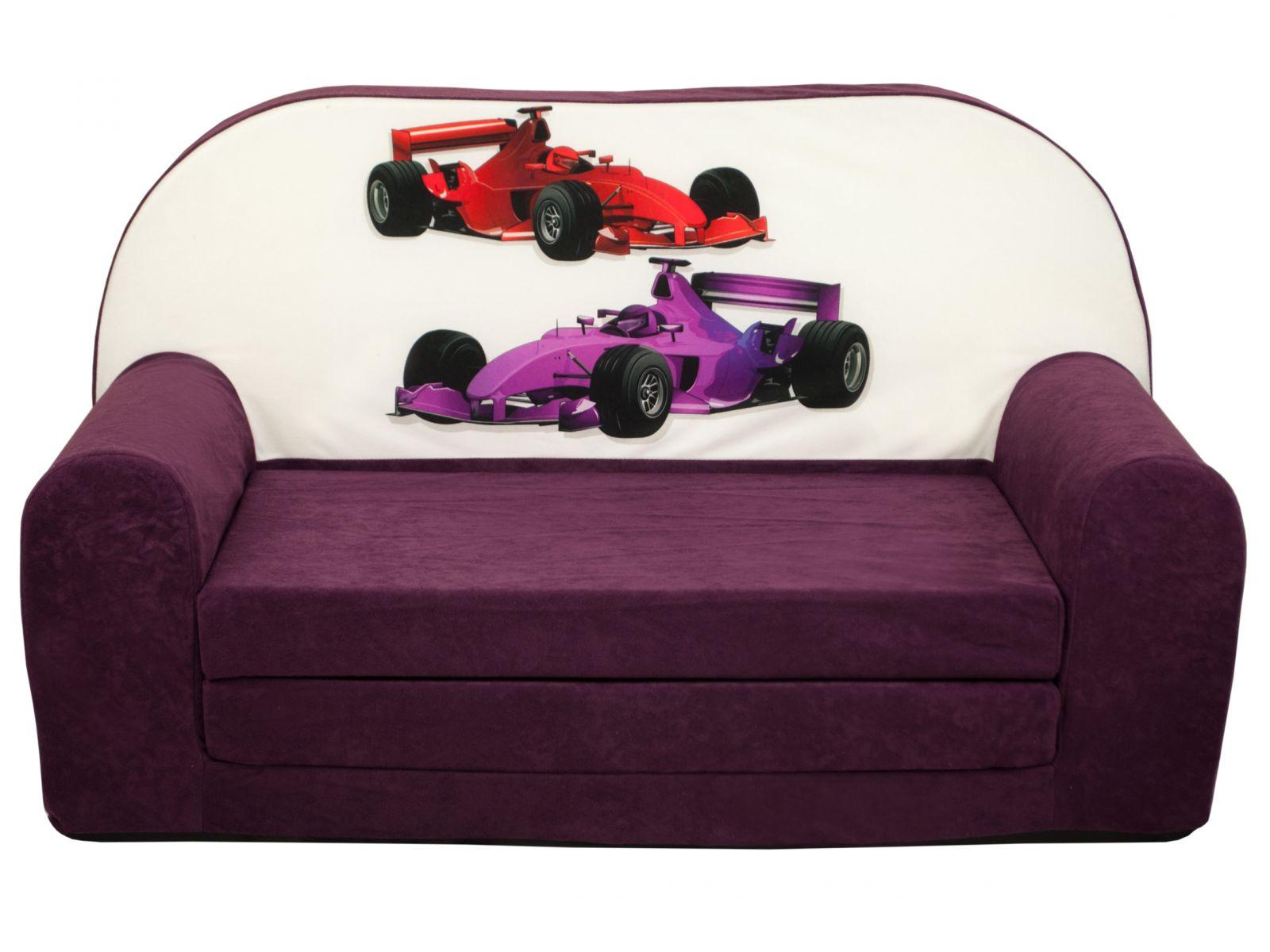 Fimex Dětská rozkládací mini pohovka Formule fialová