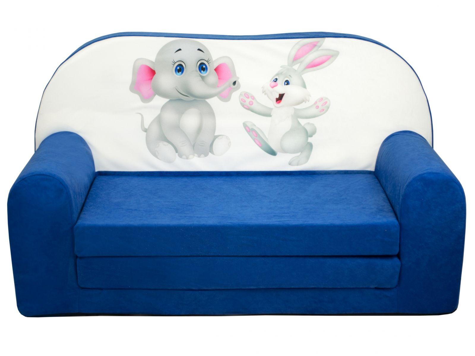 Fimex Dětská rozkládací mini pohovka Kamarádi modrá