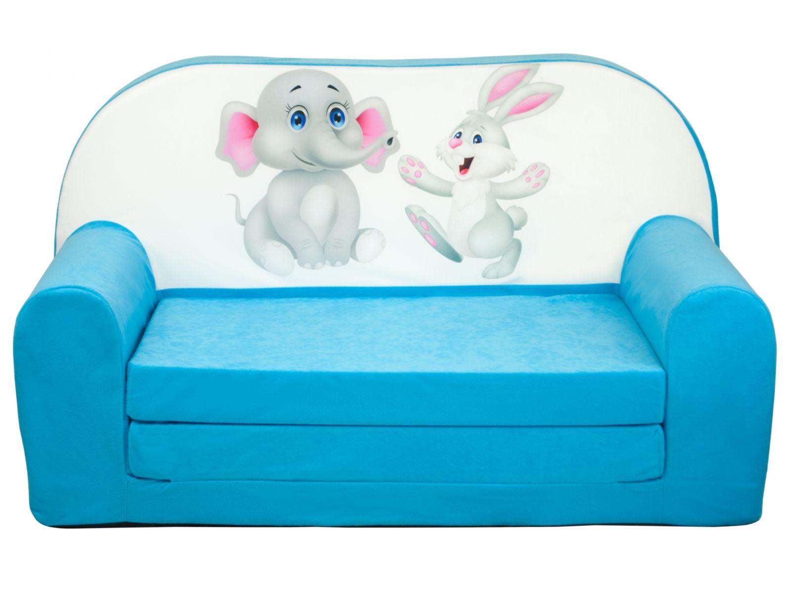 Fimex Dětská rozkládací mini pohovka Kamarádi světle modrá
