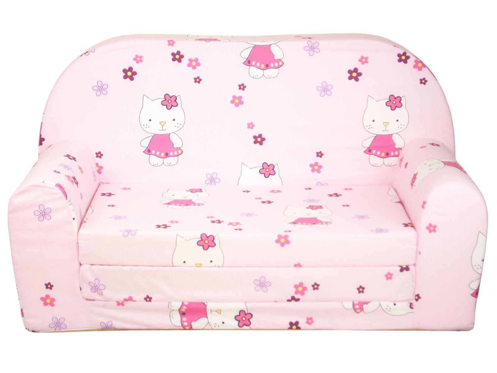 Fimex Dětská rozkládací mini pohovka Kočky růžová
