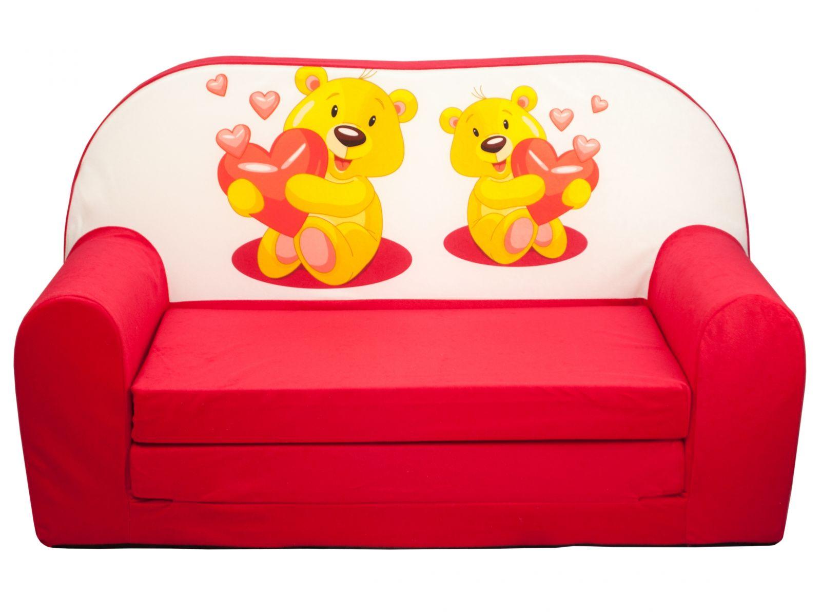 Fimex Dětská rozkládací mini pohovka Medvídci červená