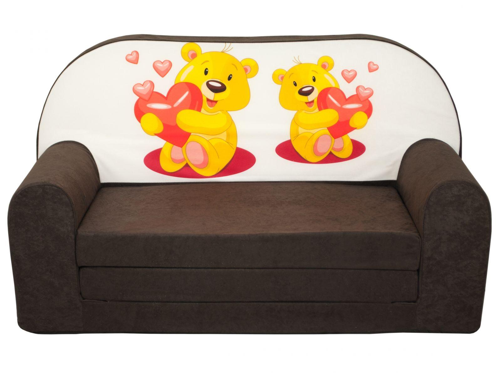 Fimex Dětská rozkládací mini pohovka Medvídci Hnědá