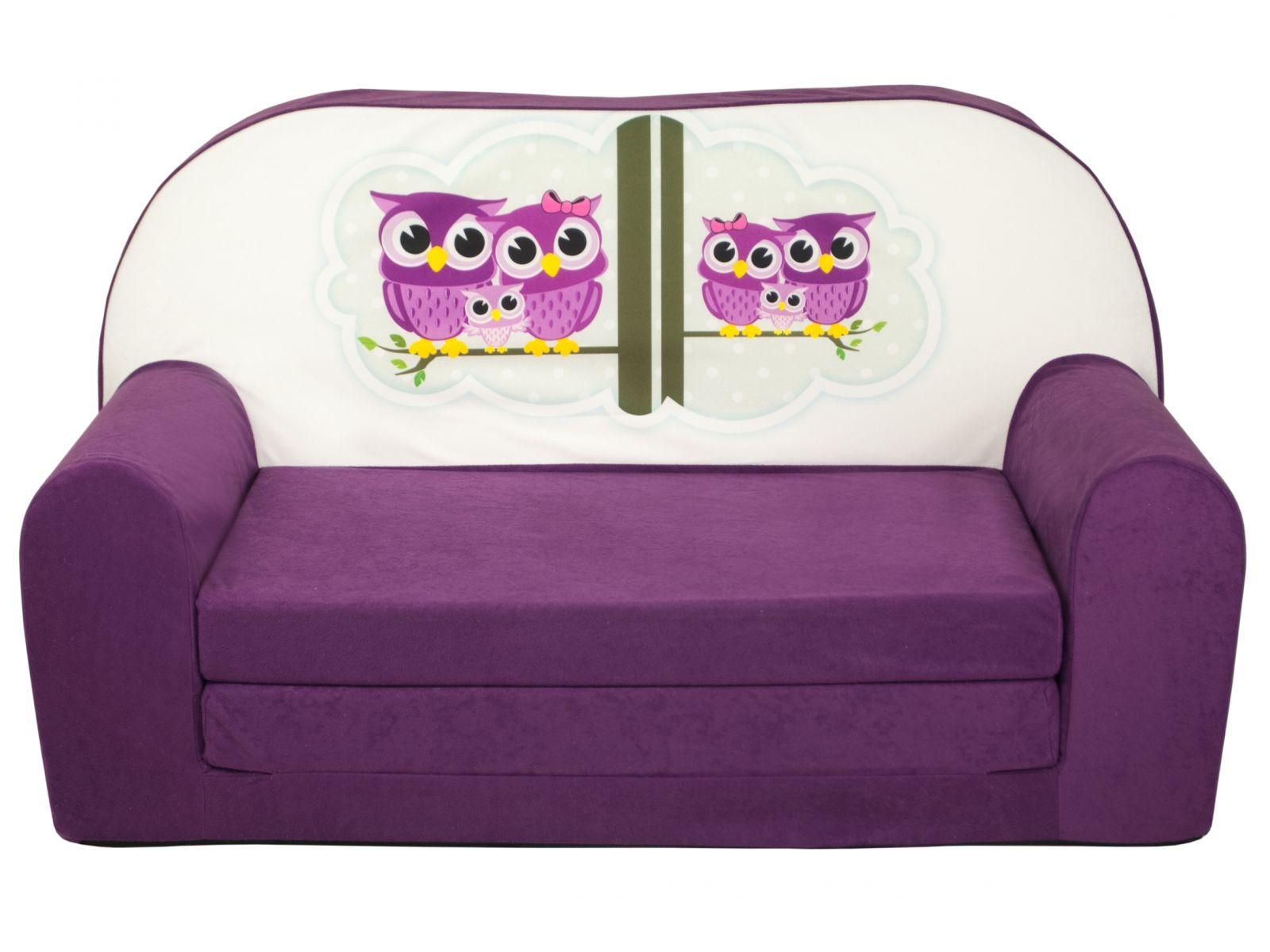 Fimex Dětská rozkládací mini pohovka Sovy fialová