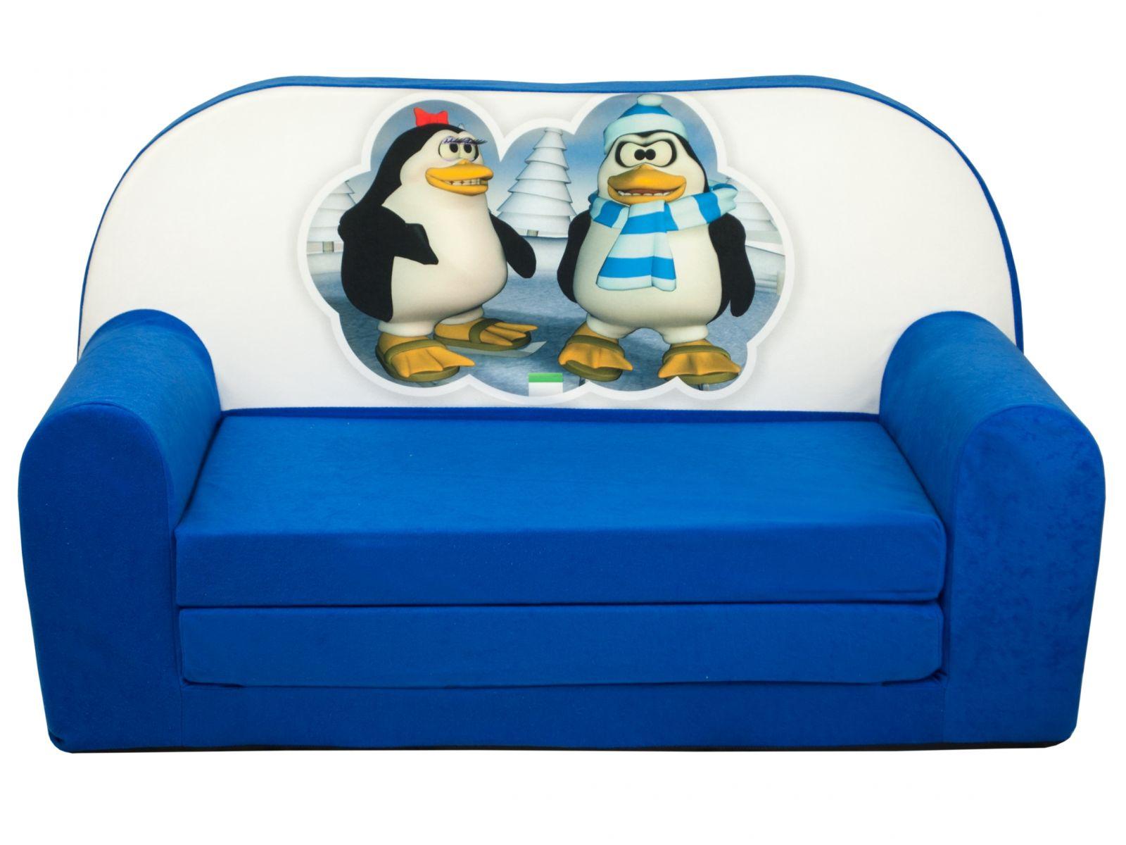Fimex Dětská rozkládací mini pohovka Tučňáci modrá
