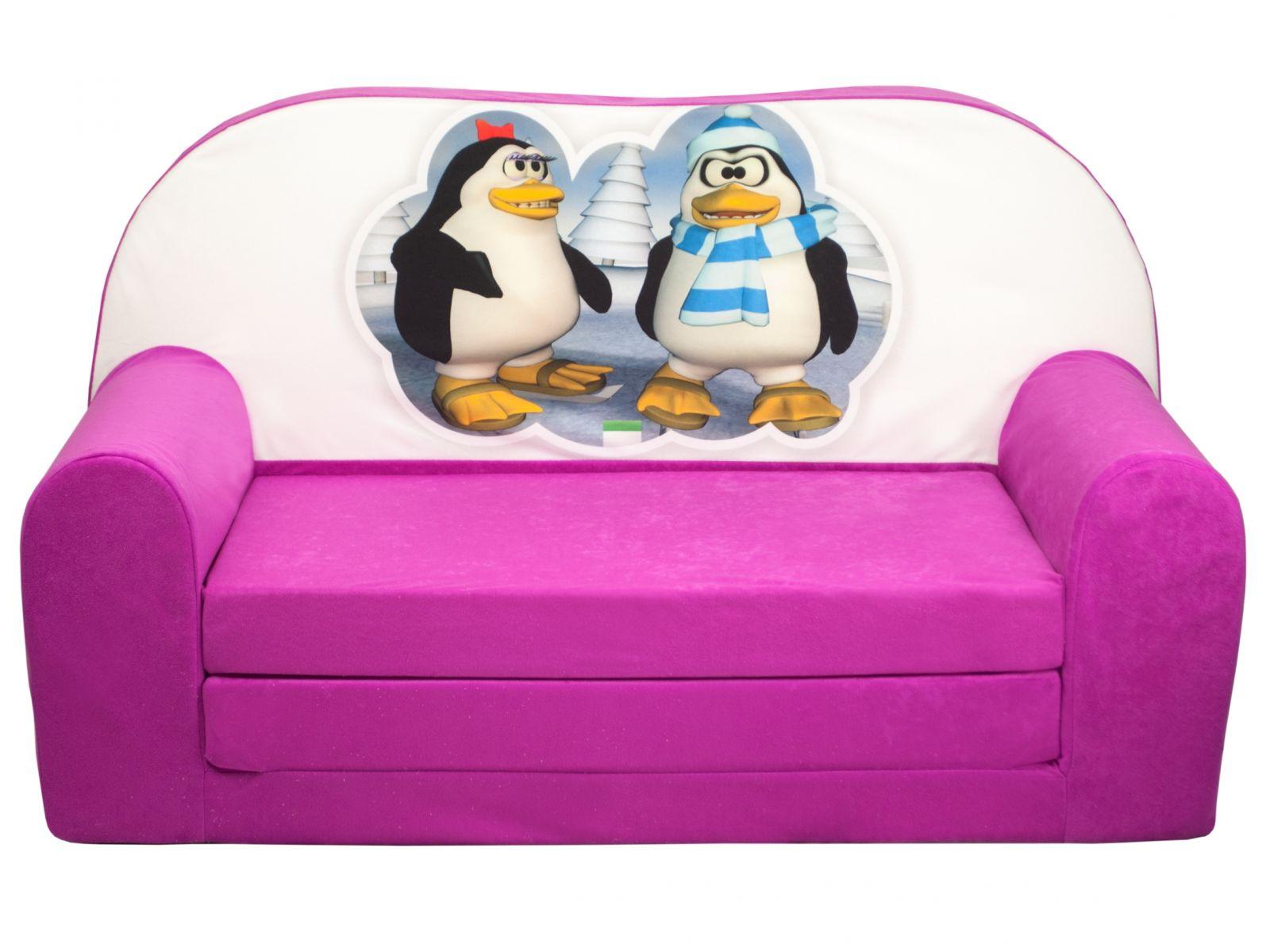 Fimex Dětská rozkládací mini pohovka Tučňáci růžová