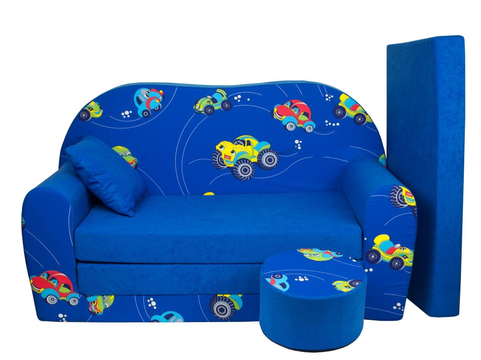 Fimex Dětská rozkládací pohovka Autíčka modrá