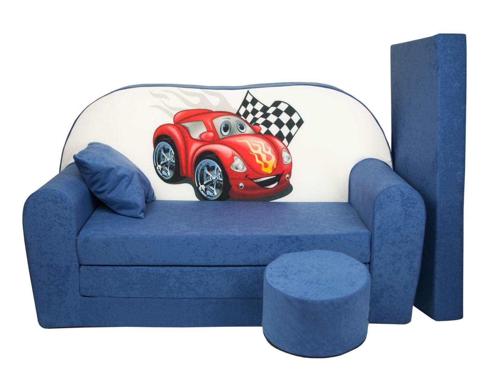 Fimex Dětská rozkládací pohovka + taburet Auto modrá