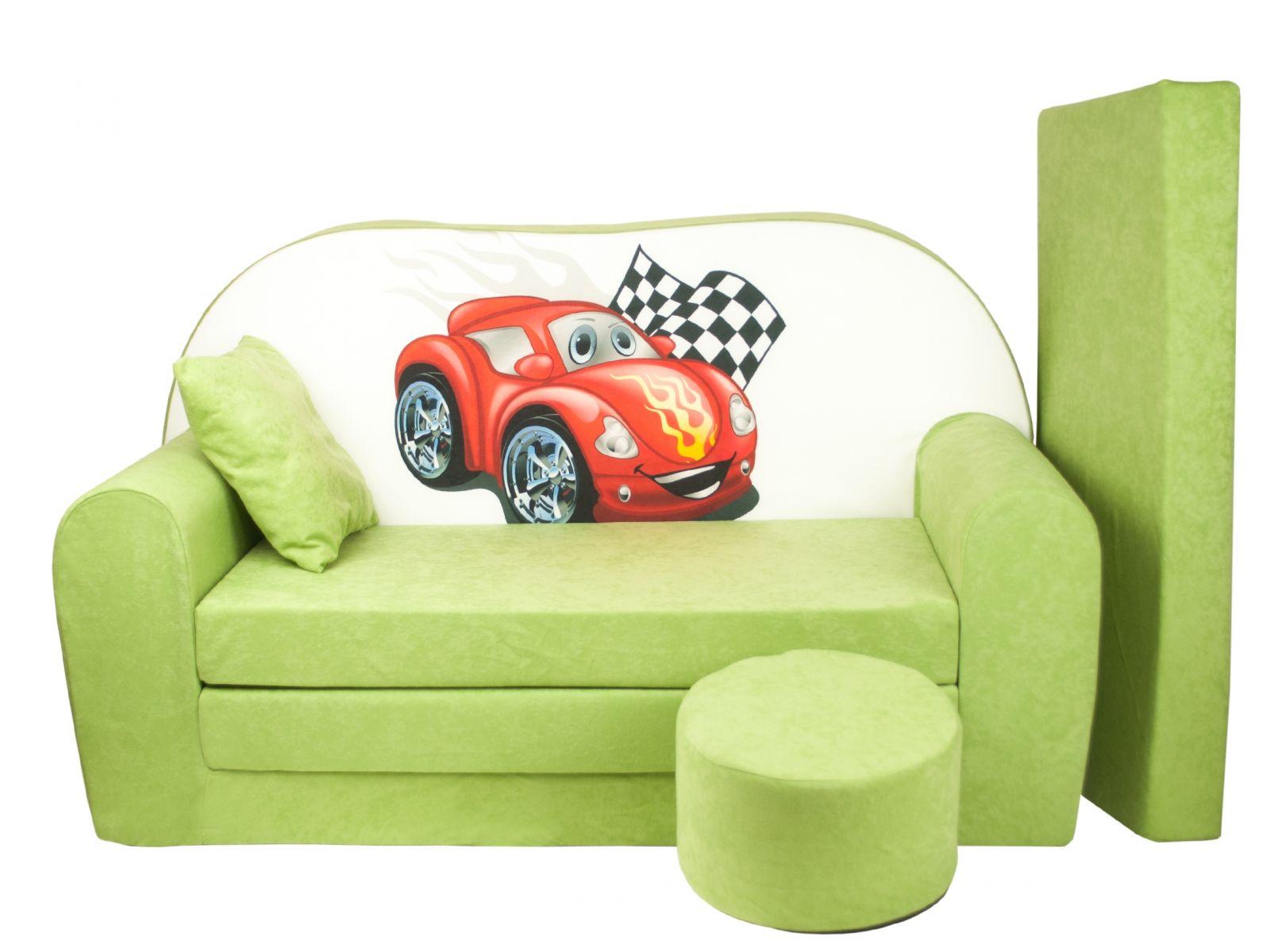Fimex Dětská rozkládací pohovka + taburet Auto zelená