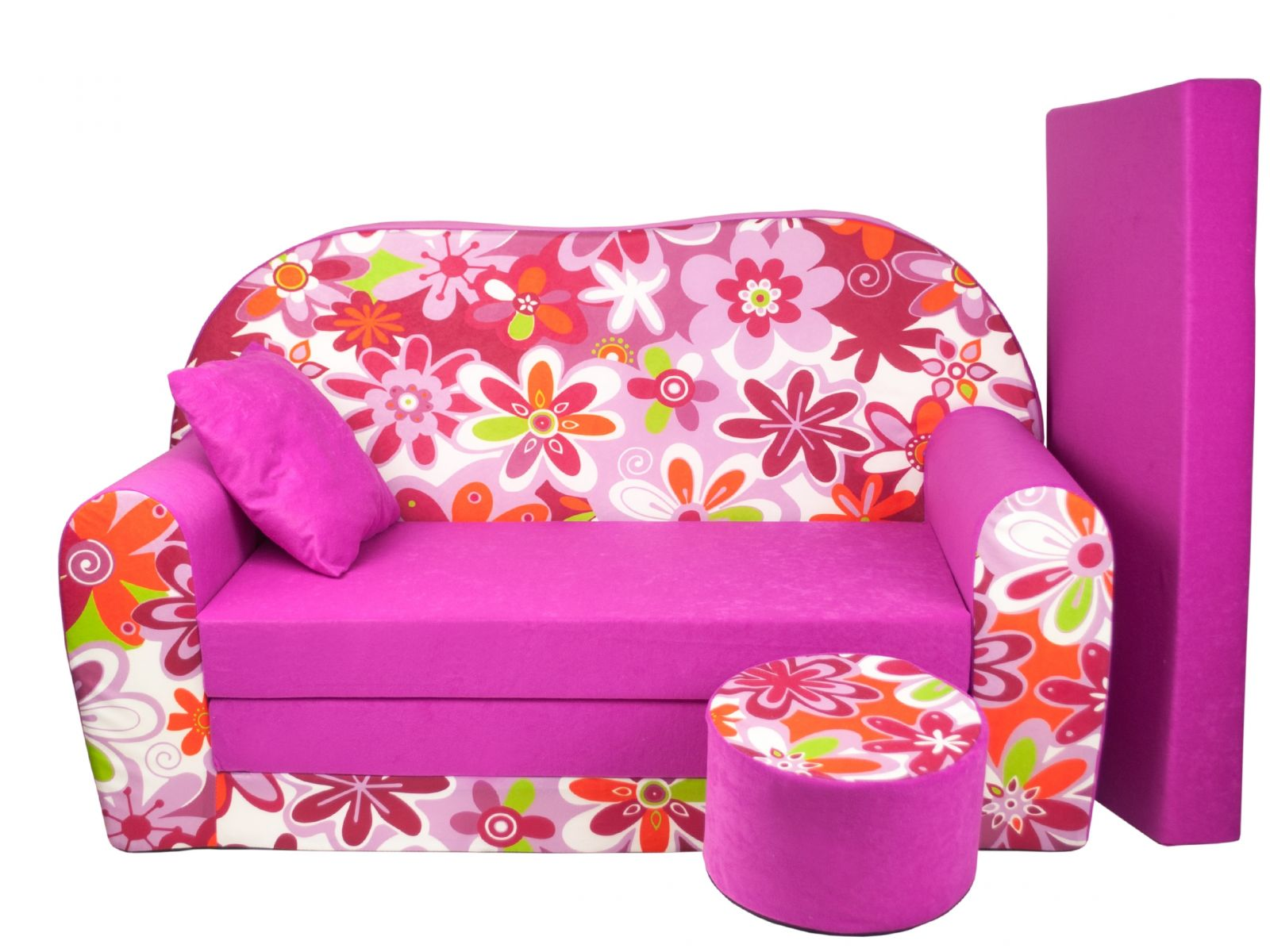 Fimex Dětská rozkládací pohovka Kytky růžová