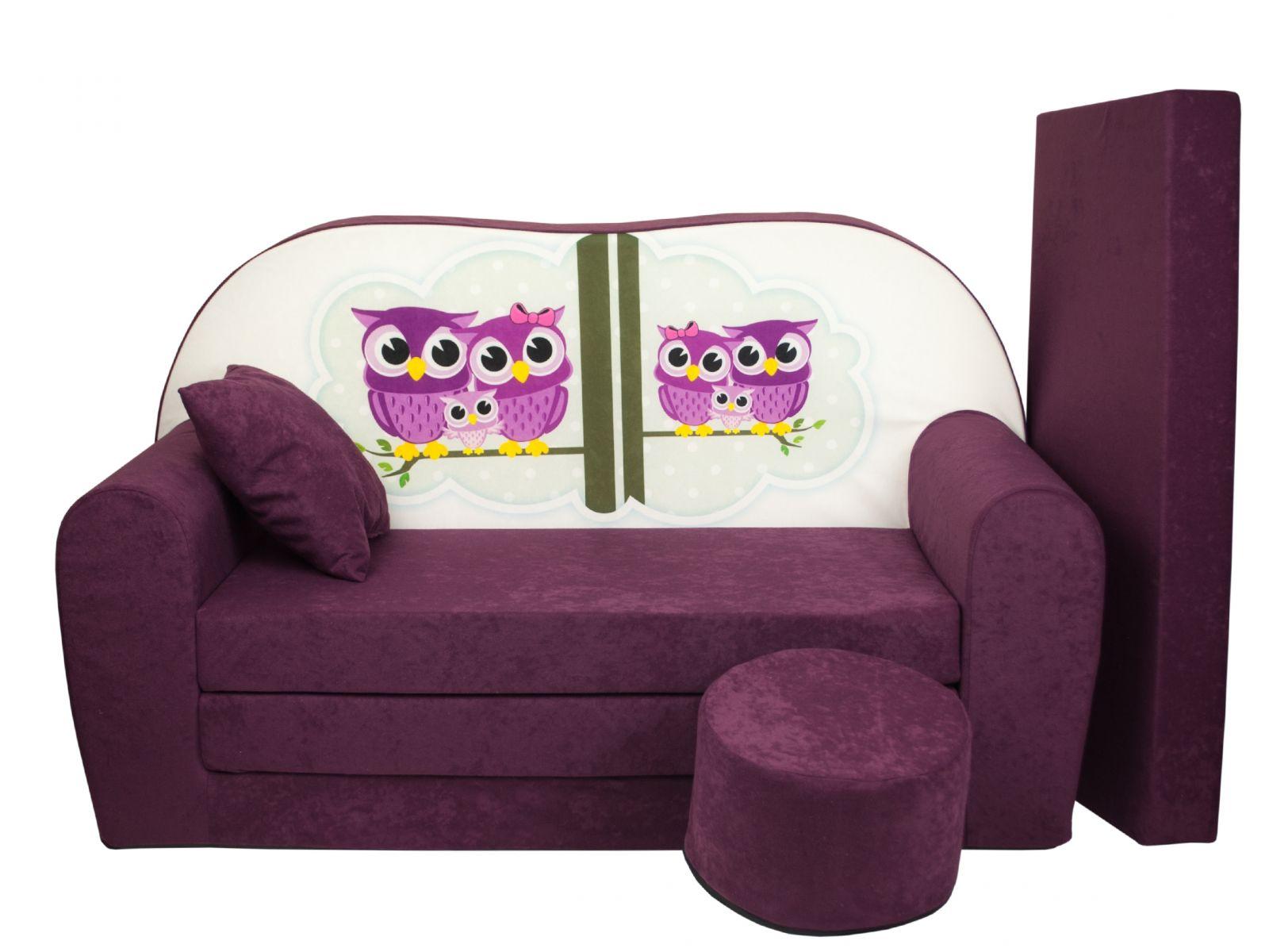 Fimex Dětská rozkládací pohovka + taburet Sovy fialová