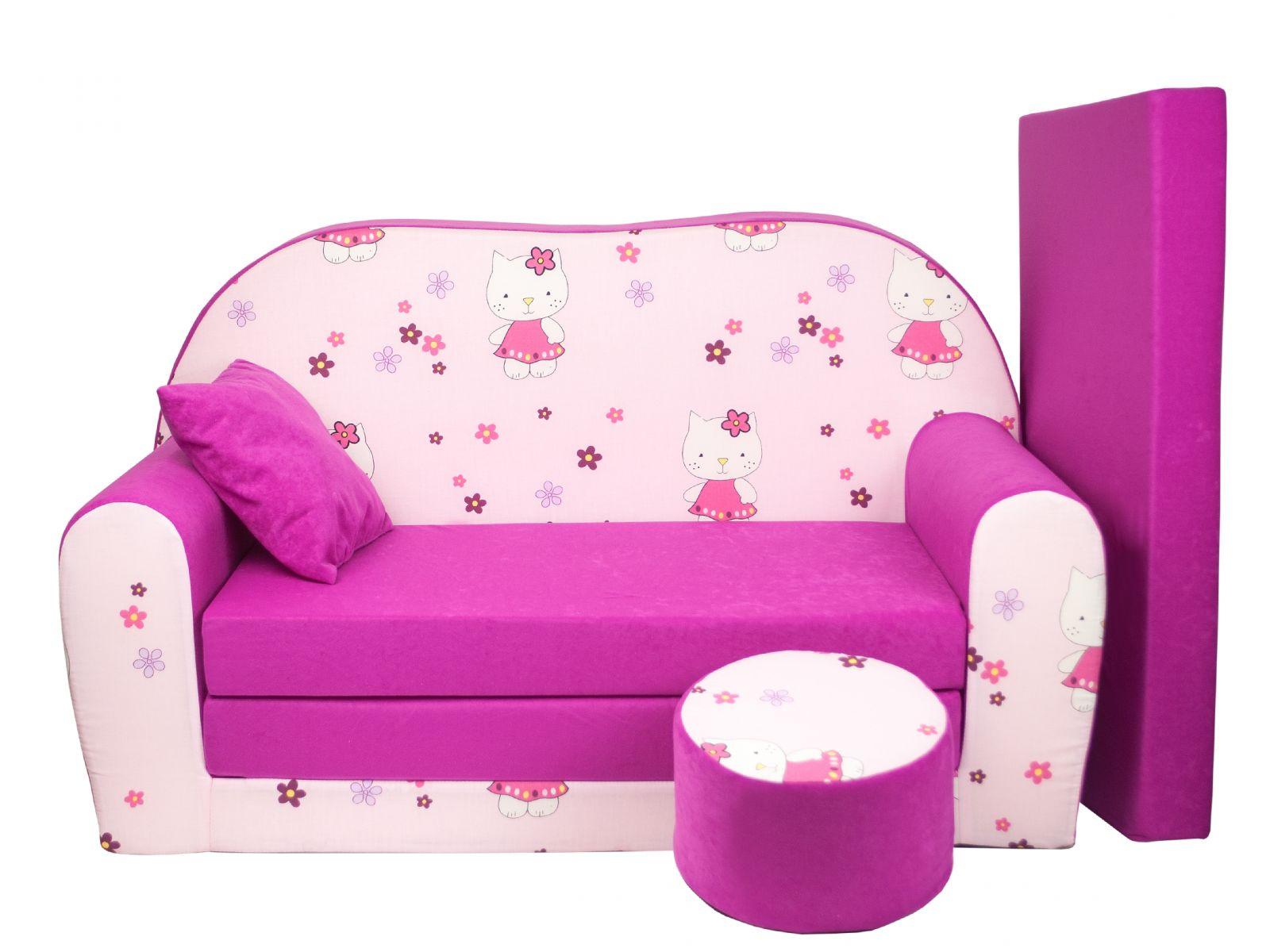 Fimex Dětská rozkládací pohovka + taburet Kočky růžová
