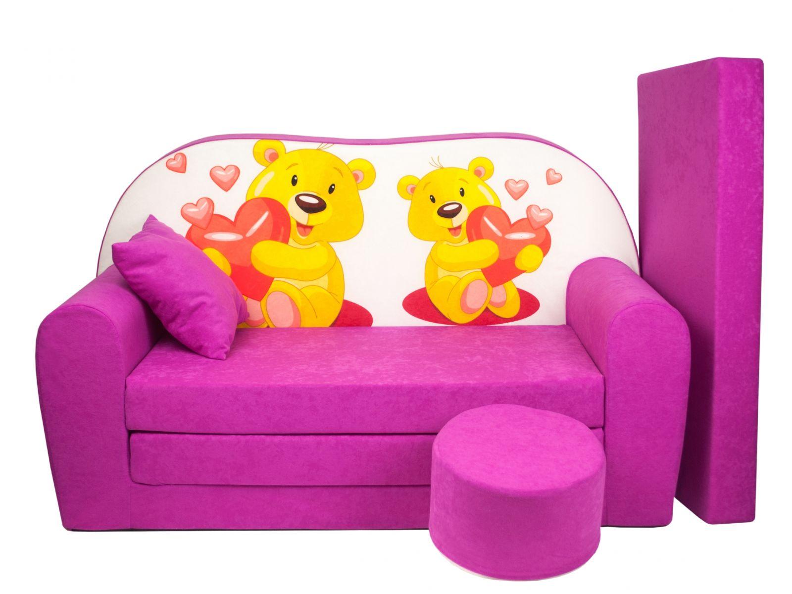 Fimex Dětská rozkládací pohovka + taburet Medvídci růžová