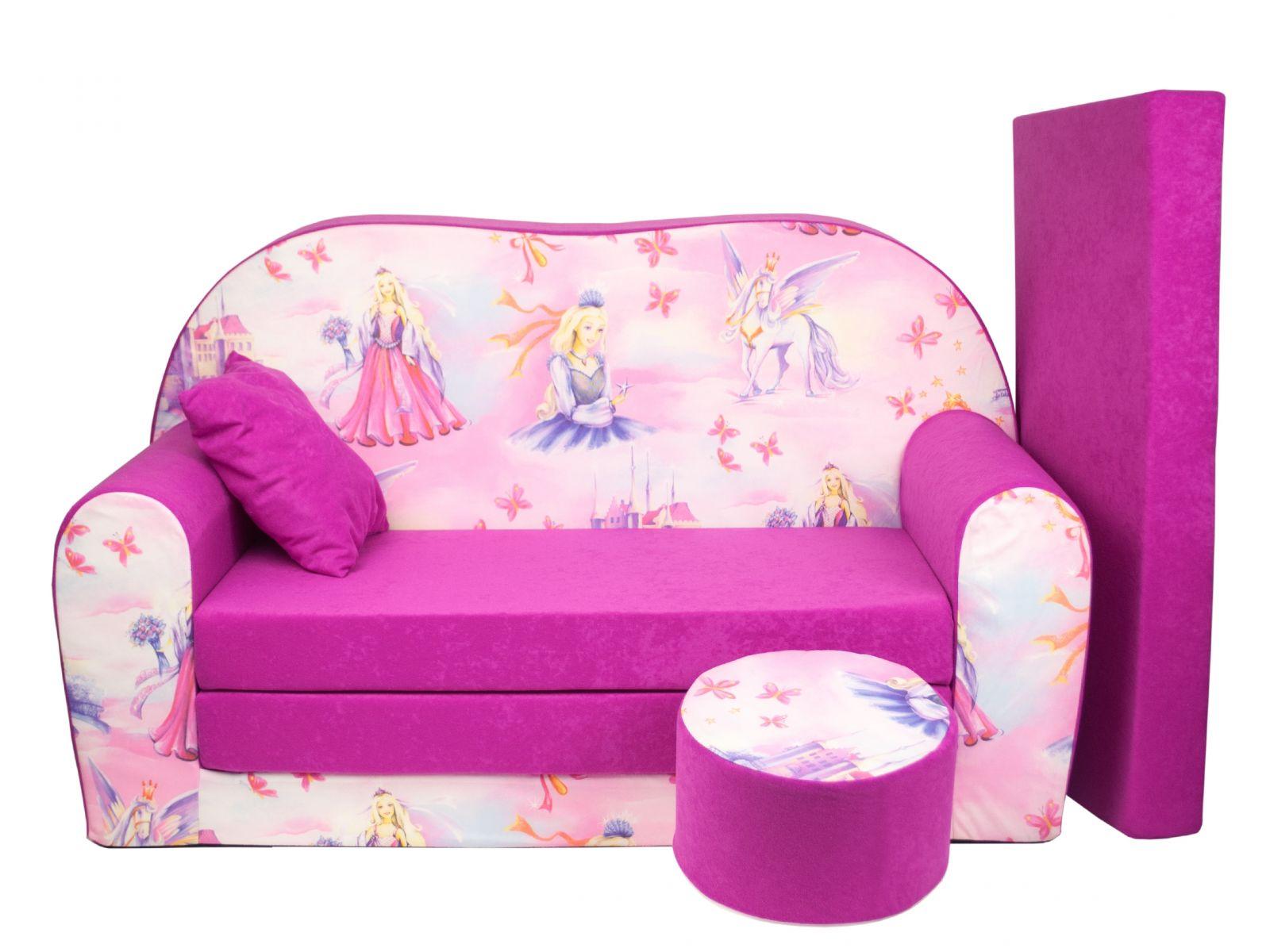 Fimex Dětská rozkládací pohovka + taburet Princezna růžová