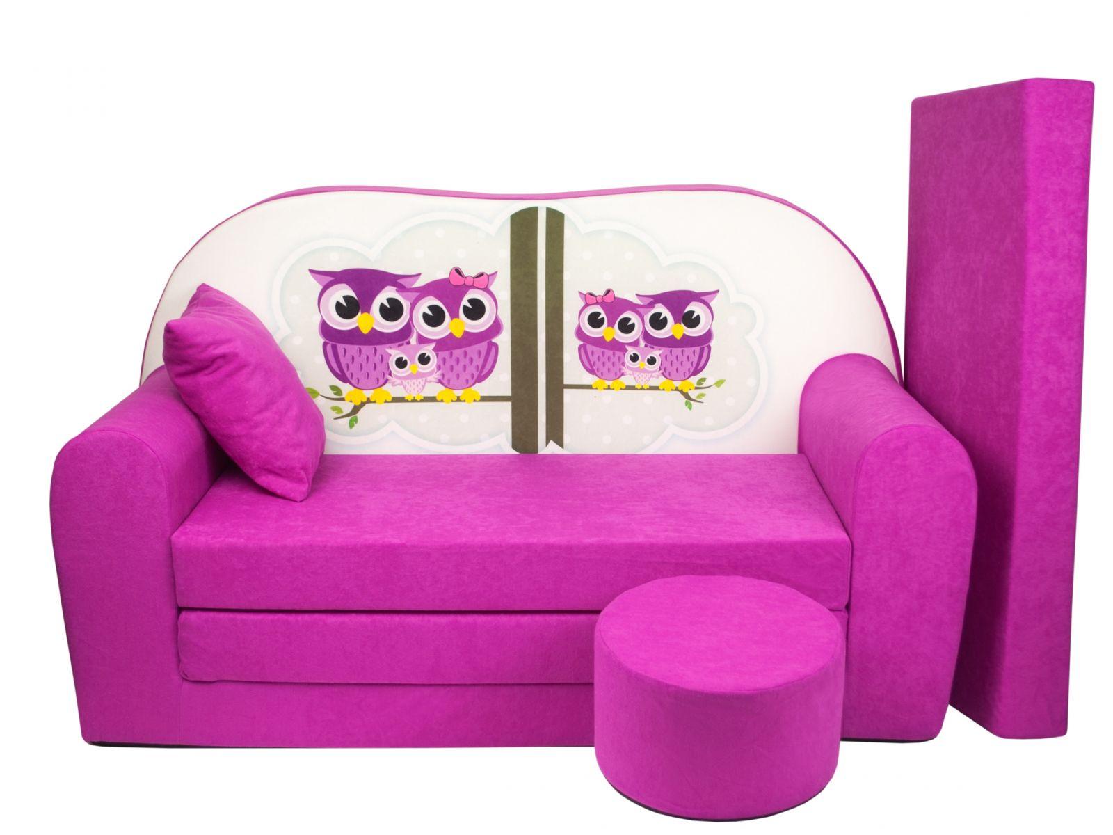 Fimex Dětská rozkládací pohovka + taburet Sovy růžová
