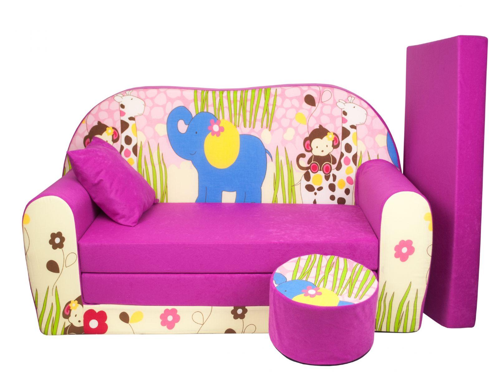 Fimex Dětská rozkládací pohovka + taburet Zoologická růžová