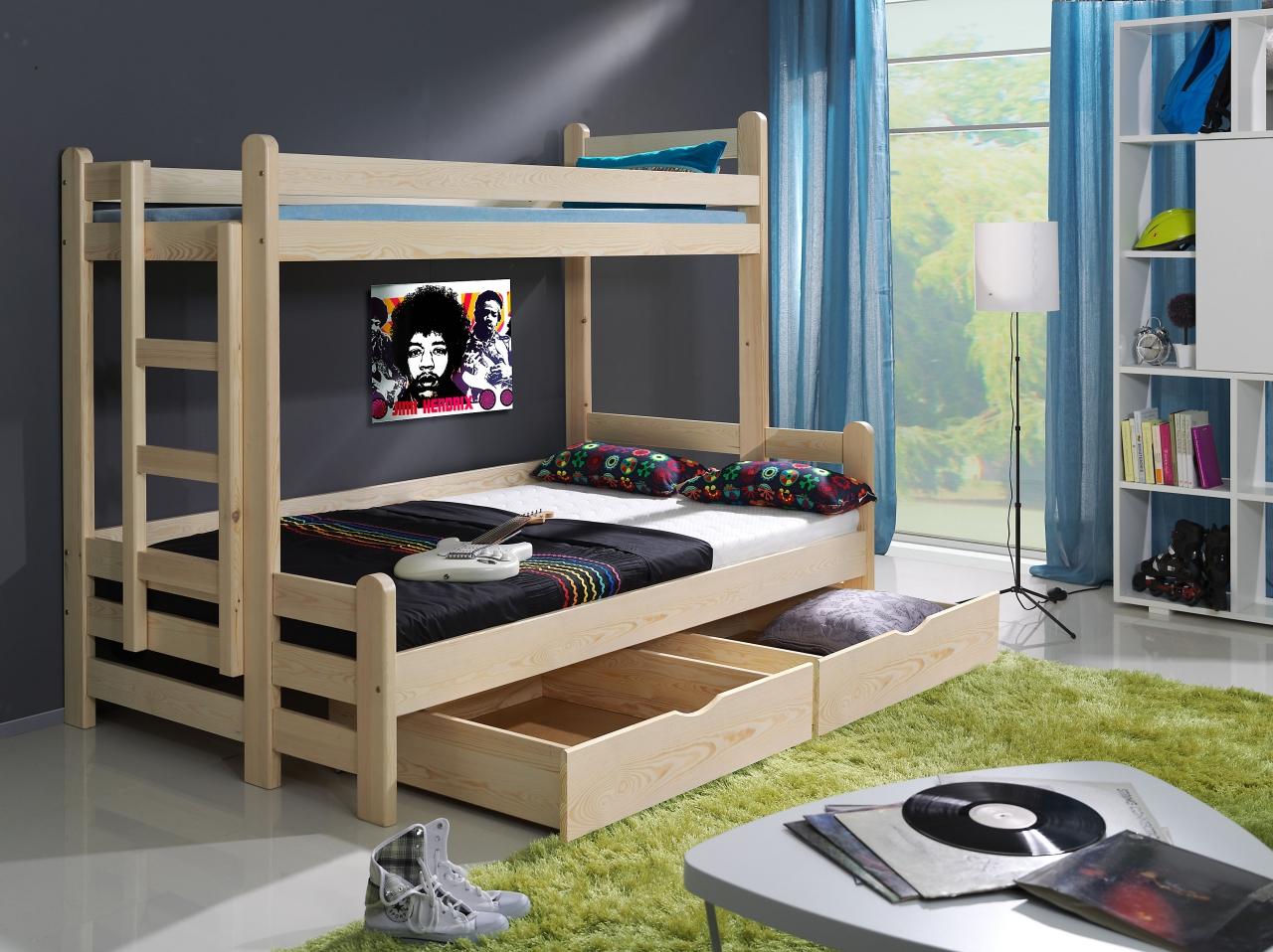 MebloBed Patrová postel Benjamin 80x200 cm s rozšířeným spodním lůžkem 120x200 cm Buk, Fialová, matrace pro vrchní + spodní lůžko (2ks matrace) 435637c658b16b5f43b6e6550fe88eed