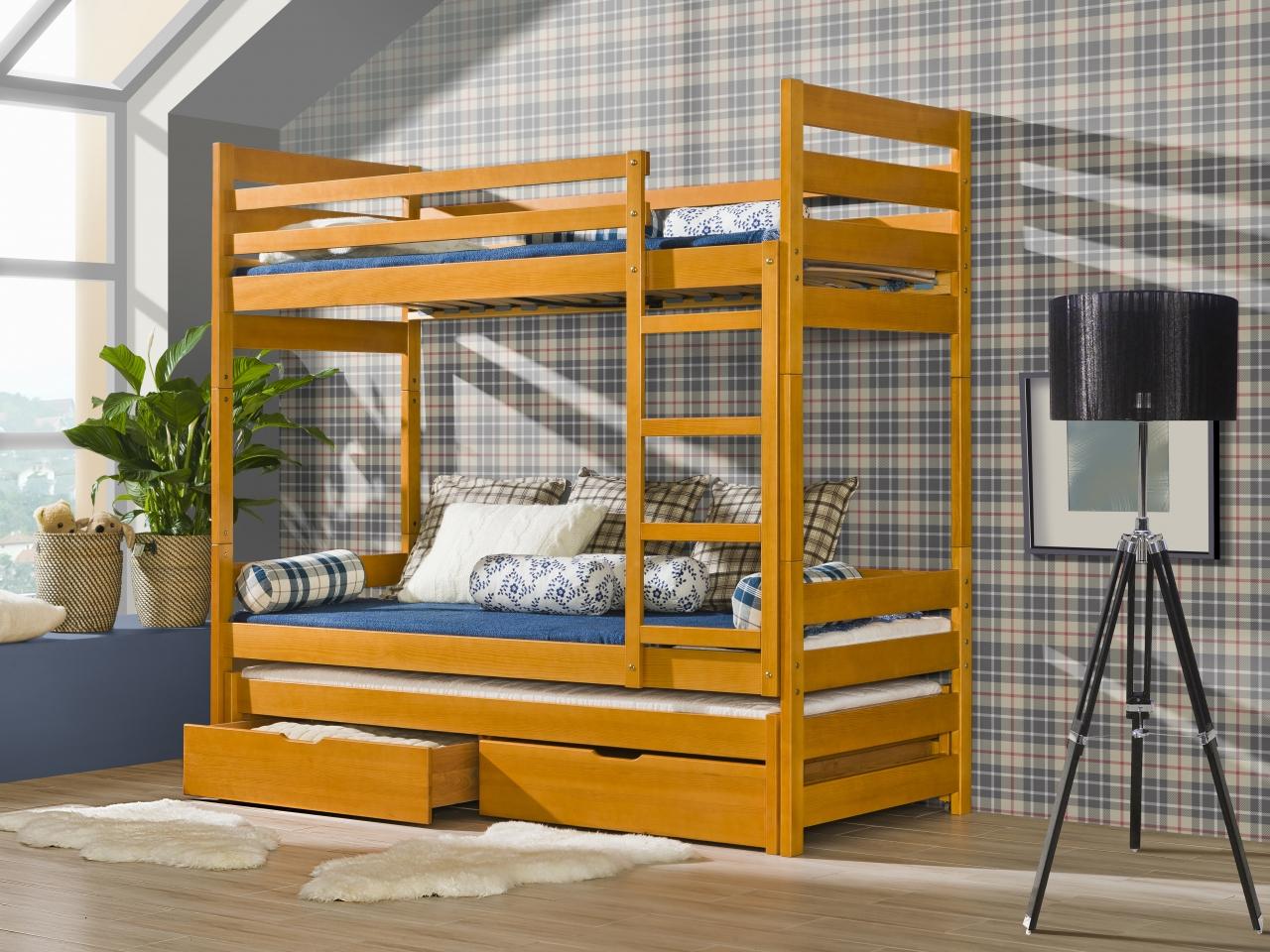 Dolmar Patrová postel Filip Olše, 3 ks matrace (2 ks hlavní + 1 ks přistýlka), se zábrankou, žebřík na pravé straně