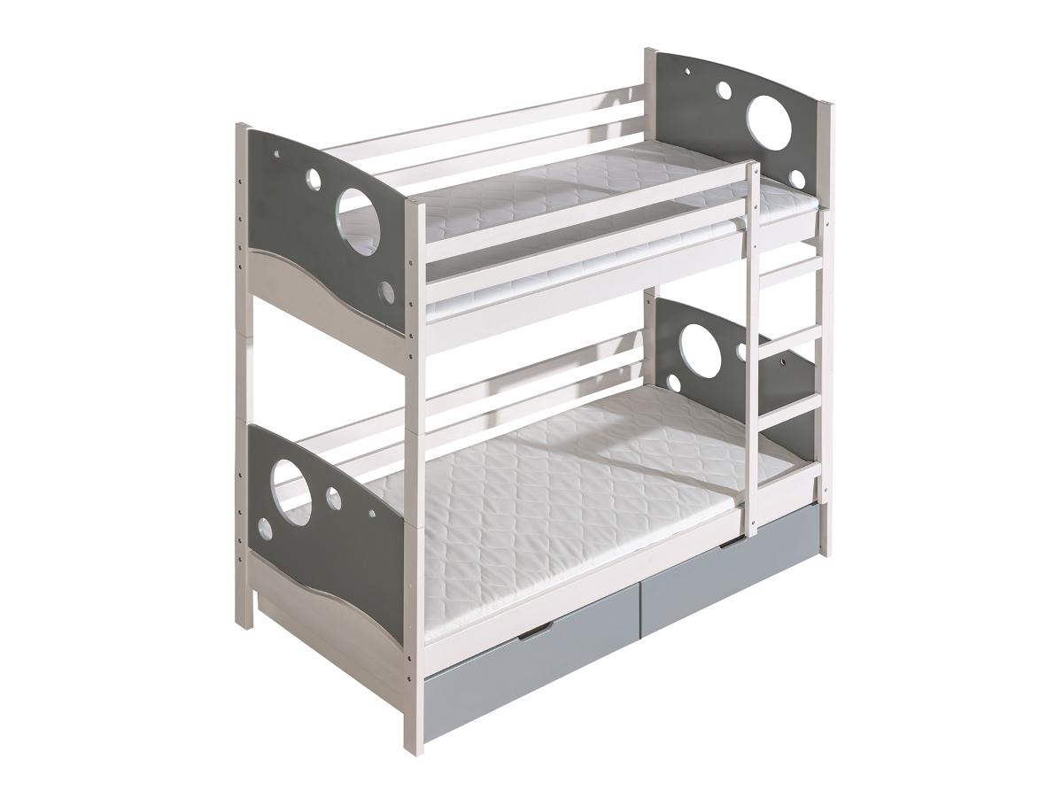 Dolmar Patrová postel Kevin Bílá, Šedá, 2 ks hlavní matrace, se zábrankou, žebřík na levé straně