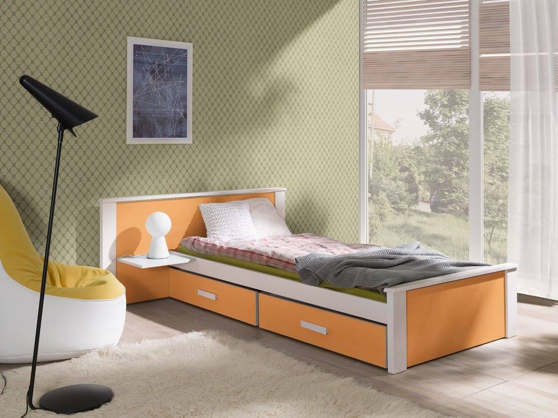 MebloBed Postel s úložným prostorem Aldo oranžová