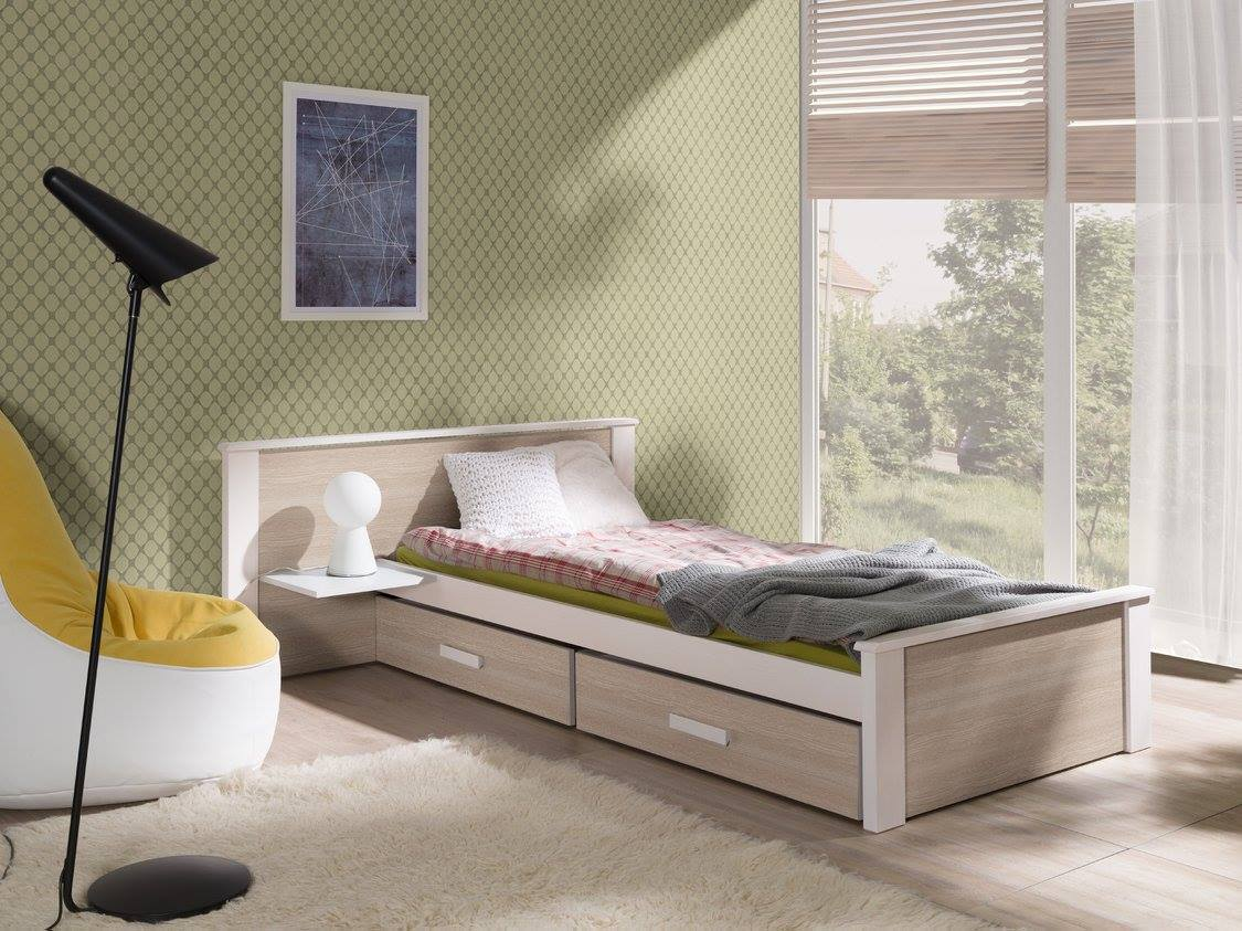 MebloBed Postel Alldo dub sonoma 90x200 cm (Š 149 cm, D 210 cm, V 72 (41) cm), noční stolek vlevo