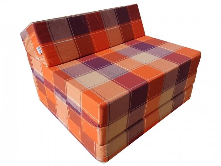 Natalia Rozkládací křeslo - matrace pro hosty kostky oranžové