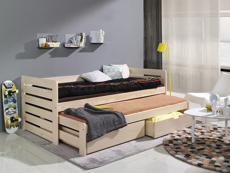MebloBed Rozkládací postel Tomáš s úložným prostorem