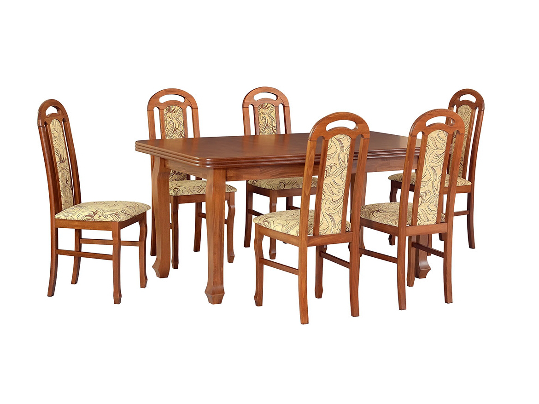 DREWMIX Sestava stůl Ludwik I + 6 ks židle Piano I