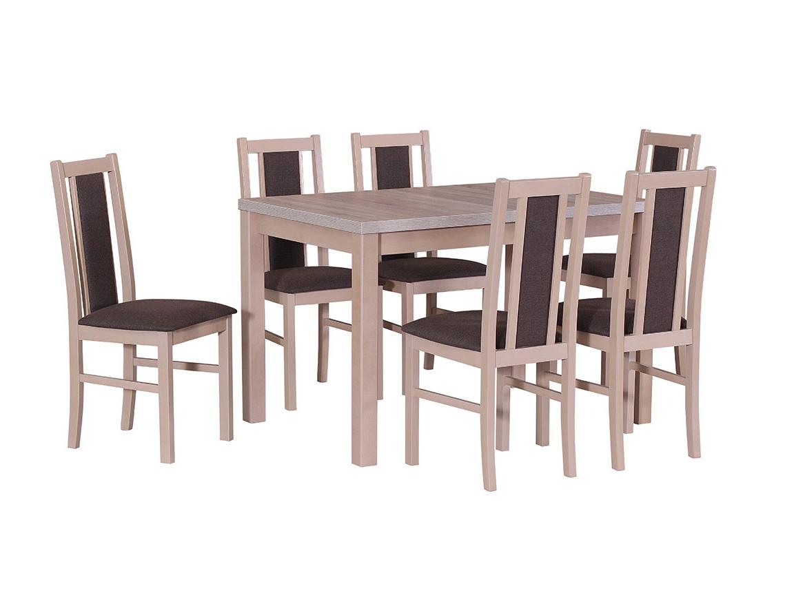 DREWMIX Sestava stůl Max V + 6 ks židle Boss XIV