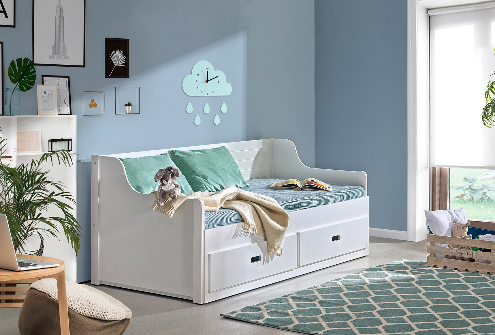 Dolmar Rozkládací postel Šimon s úložným prostorem