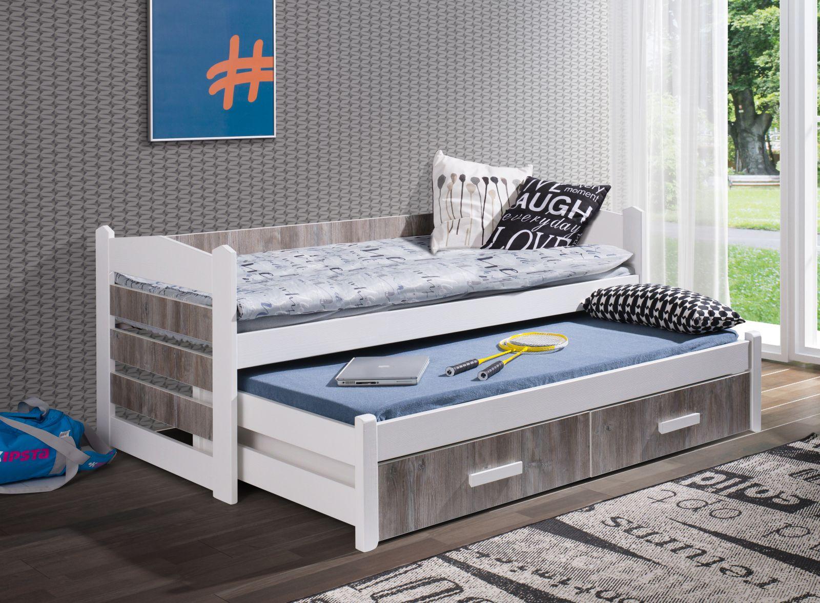 MebloBed Rozkládací postel Tiago s úložným prostorem